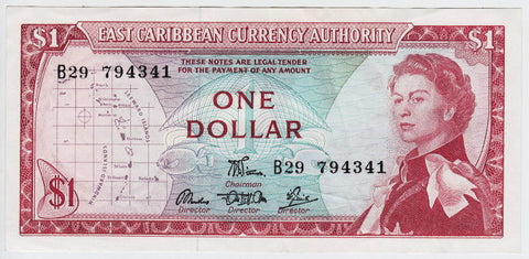 east caribbean 1965 banknote currency