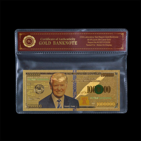 Gold Novelty Banknote Donald Trump US 45th President One Million Dollar