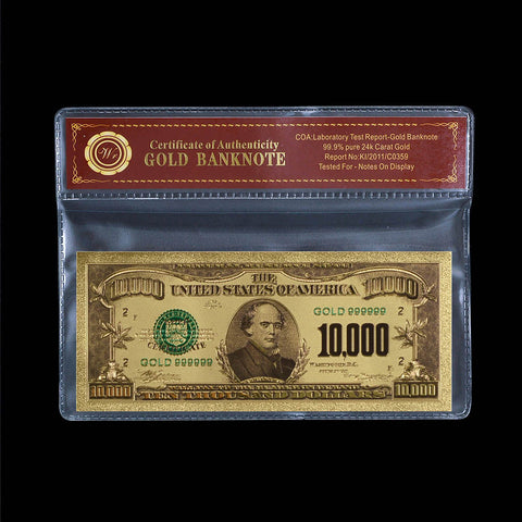 Gold $10000 Dollar Banknote Colored US Uncirculated Bill Note In Sleeve