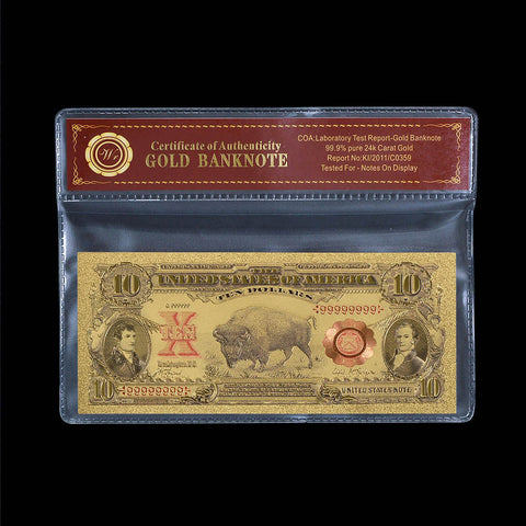 1901 $10 Bill US Gold Banknote Ten Dollar Bison Note In Protective Sleeve