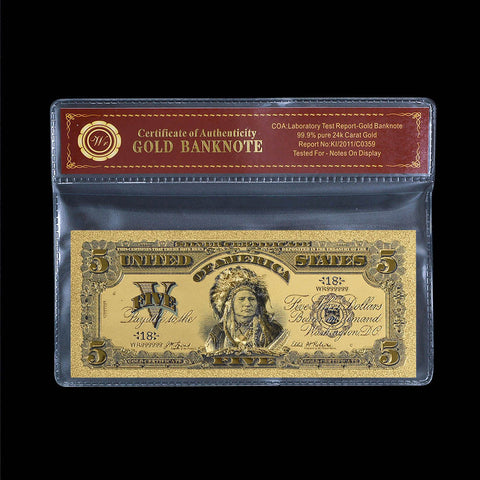 1899 US $5 Gold Banknote Chief One Papa Indian Five Dollars Rare Banknote COA