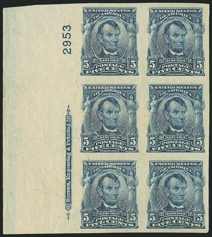 #315 Lincoln Imperf Plate Block NH with gum skips
