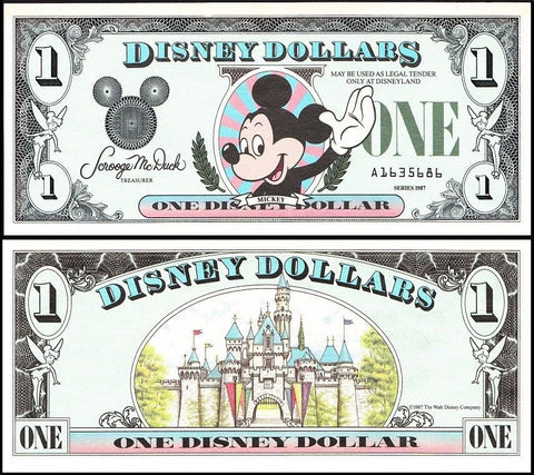 Disney Dollar (Disney World) $1, D-A Series, 1990, R-018, UN