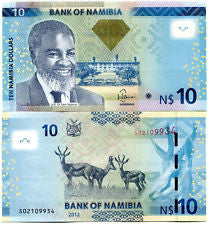 namibia 10 dollars 2012 unc banknote currency