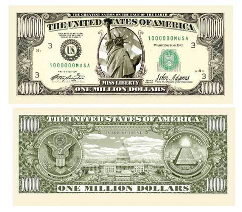 Traditional Million Dollar Bill