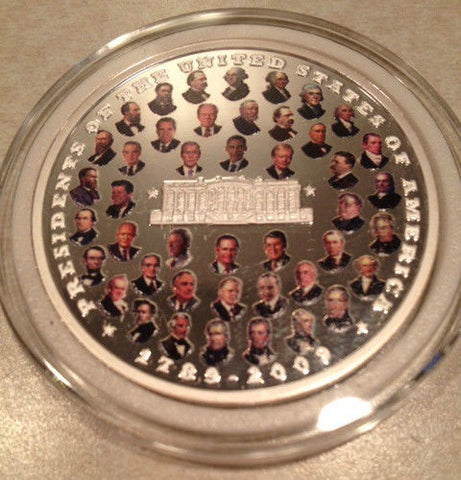 RARE .999 Silver Coin of US Presidents; Washington - Obama & Inaugural Dates