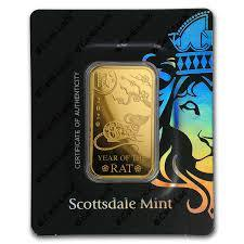 1 oz Scottsdale Lunar Year of the Rat Gold Bar (New w/ Assay) - BullionBrothers.net