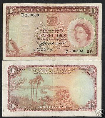 RHODESIA & NYASALAND 10 SHILLINGS P20 1961 QUEEN SHIP RARE