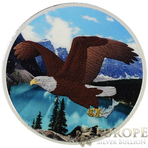 2014 1 Oz Ounce Silver Canadian Bald Eagle Colorized Edition Coin 9999 RARE!