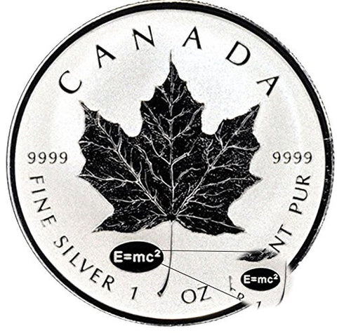 2015 1 oz Silver Canadian Maple Leaf E=mc2 Privy Reverse Proof $5 Coin