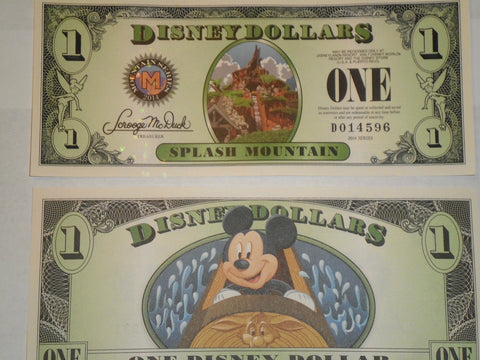2014 $1 Disney Dollar featuring Splash Mountain - D Series