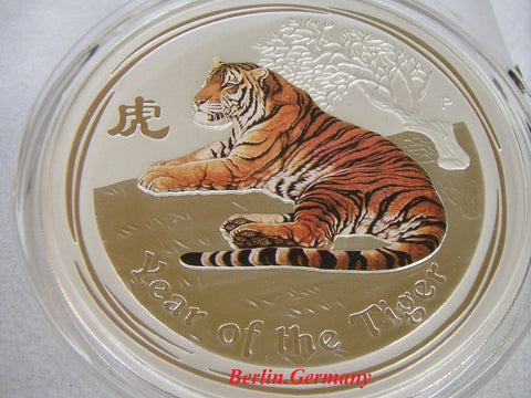 PERTH LUNAR 2010 TIGER .999 SILVER COLORED BU REV.PROOF COIN RARE