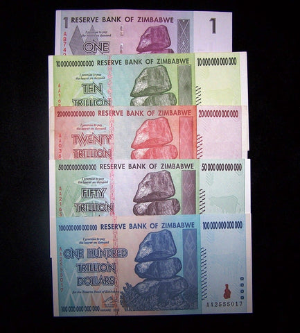 zimbabwe trillion currency banknote lot
