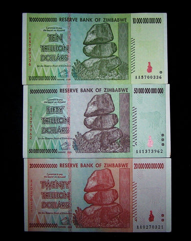 zimbabwe trillion banknote currency lot