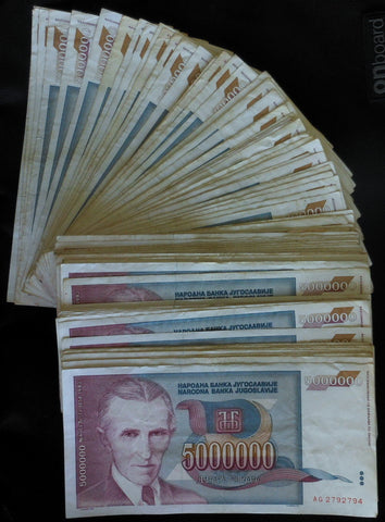 Yugoslavia - 5 million dinara 1993 - Nikola Tesla - Bundle of 100 banknotes
