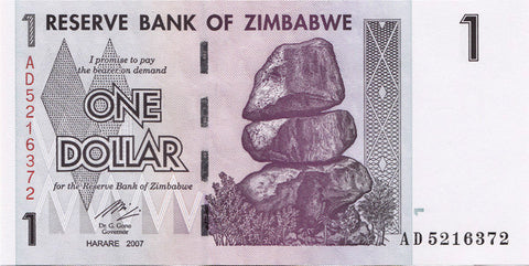 zimbabwe 1 dollar banknote currency