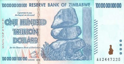 zimbabwe 100 trillion banknote 5 pieces