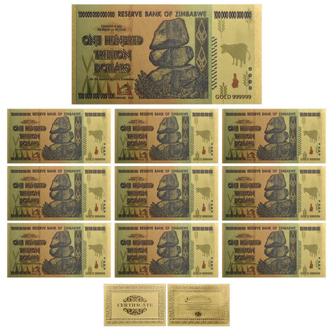 10× $100 One Hundred Trillion Dollar Zimbabwe Gold Banknote Set Gifts /w COA