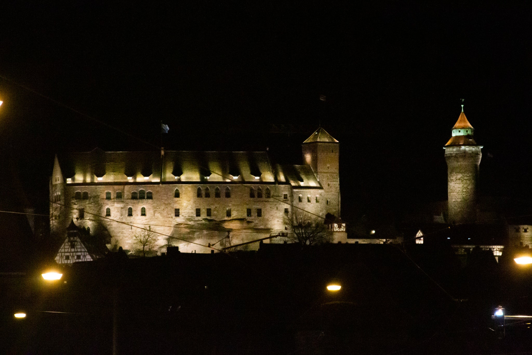 Nuremberg Castle at night street view