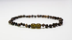 Baltic Amber Baby Necklace Black Green