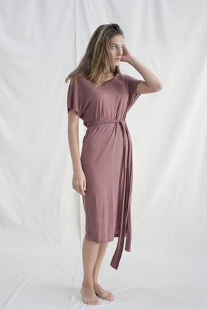 Reversible Tie Dress / Burgundy