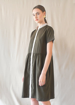 Jane Gathered Dress / Olive