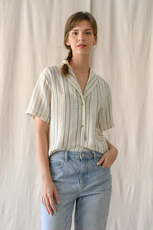 (CLOSED) Edith Blouse / Cream Stripes