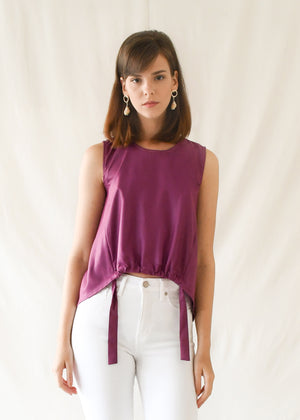 Drawstring Shell Top / Magenta