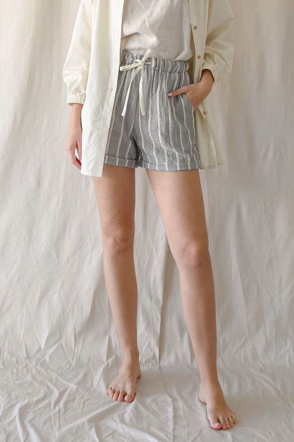 (CLOSED) Jill Drawstring Shorts / Dove Stripes