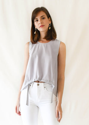 Drawstring Shell Top / Light Grey