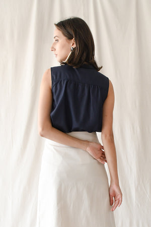 Swing Buttondown Blouse / Navy