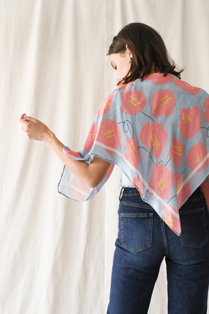 Rayon Scarf / Light Blue-Salmon