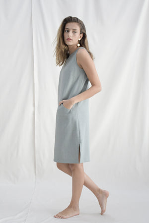 Pinstripes Shift Dress / Grey