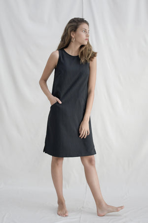 Pinstripes Shift Dress / Black