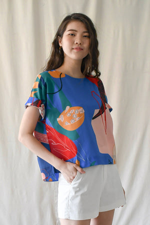 Prints Canvas Top / Blue Okra