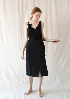 Bouquet Wrap Dress / Black