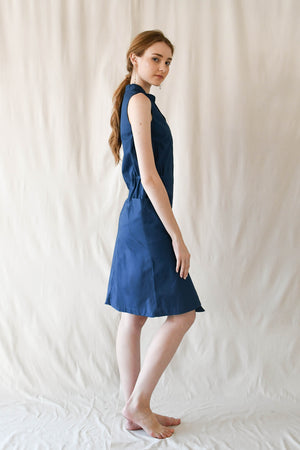 Slope Buttondown Dress / Marine Blue