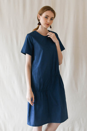 Scrunched T Dress / Marine Blue
