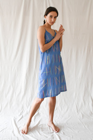 Rachel Dress / Cyan Blue Sticks