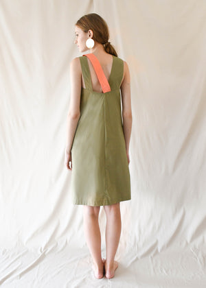 Colourblock Shift Dress / Sage