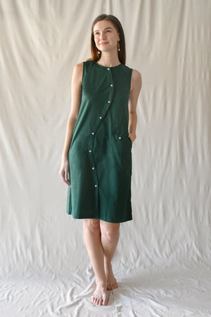 Waves Tent Dress / Forest Green
