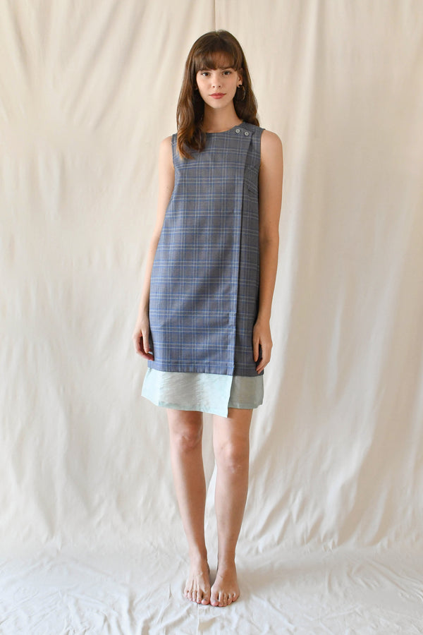 Lucille Midi Dress / Blue Checks
