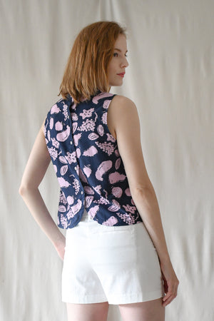 Mandarin Shell Top / Navy Fruits