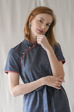Jasmine Dress / Blue Checks