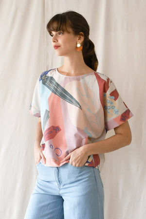 Prints Canvas Top / Cream Okra