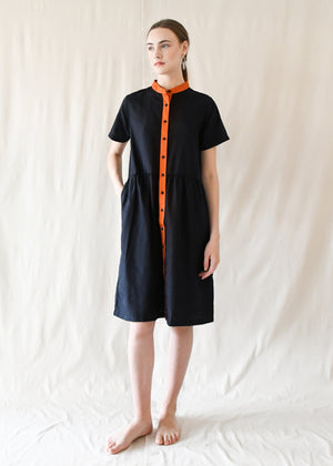 Jane Gathered Dress / Navy