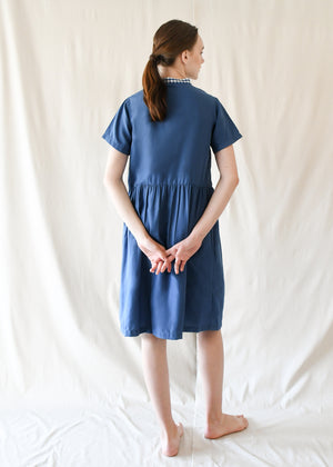 Jane Gathered Dress / Blue Gingham