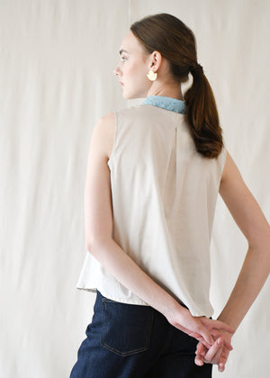 Peterpan Button Blouse / Mint Terrazzo