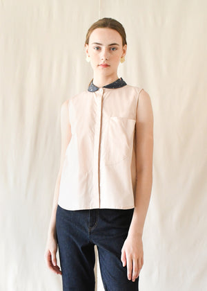 Peterpan Button Blouse / Blue Terrazzo