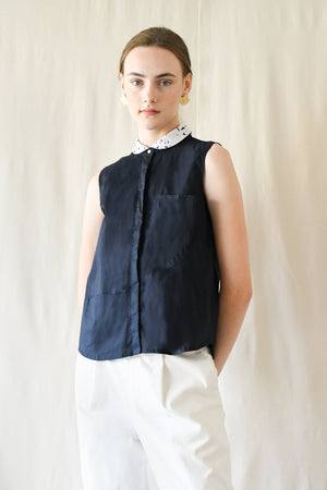 Peterpan Button Blouse / White Terrazzo